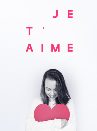 Jetaime Love Heart Valentines Day Words Stock Photo