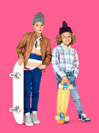 skateboarder: Young Boys Skateboarder Hipster Smile Stock Photo
