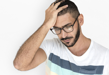 Middle Eastern Man Curious Stress Thinking Studio Portrait Stock Photo