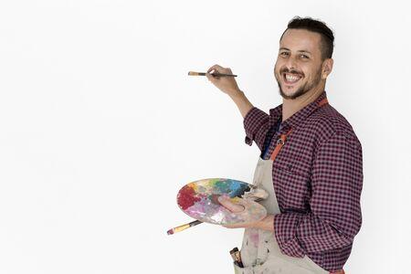Man Brush Drawing Color Palette Arts Studio Portrait Stock Photo