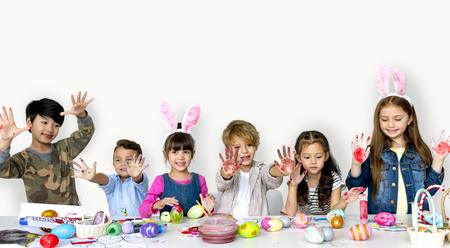 Happiness group of cute and adorable children prepare for easter Stock Photo