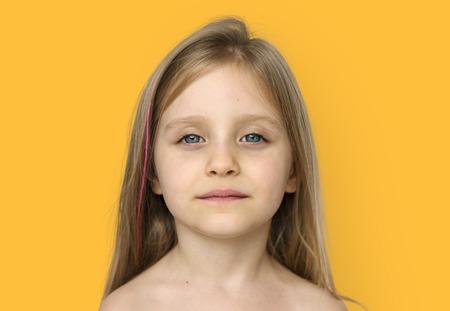 Meisje Bare Chest Topless Studio Portrait Stockfoto