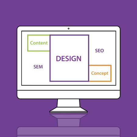 Design SEO Content Word Boxes Stock Photo