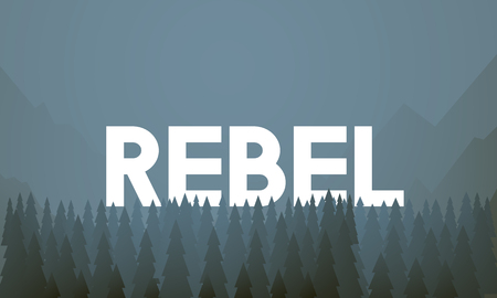 Graphic with the word REBEL Stock Photo