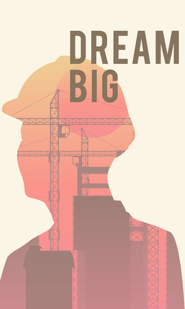 Double exposure of human silhouette and industrial background with Dream Big concept