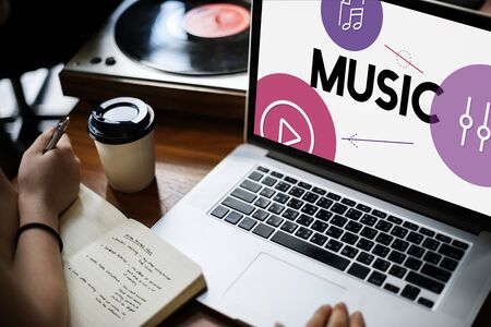 notebook: Music Streaming Media Entertainment Equalizer Stock Photo