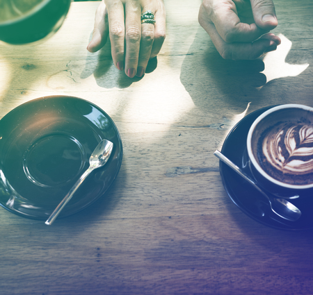 Photo Gradient Style with Coffee foam froth art on wooden table