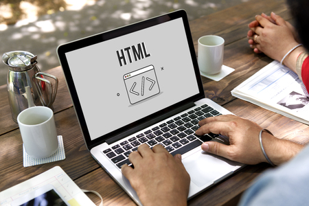 icons site search: Programmer Coding HTML Script Concept Stock Photo
