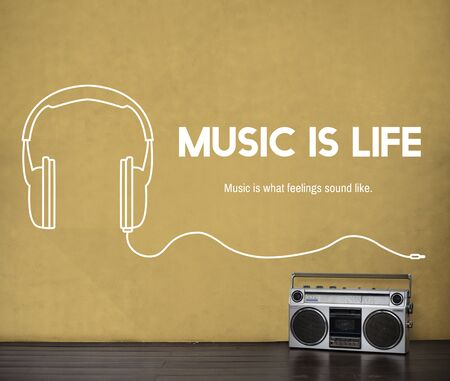 Listening to music headphones graphic