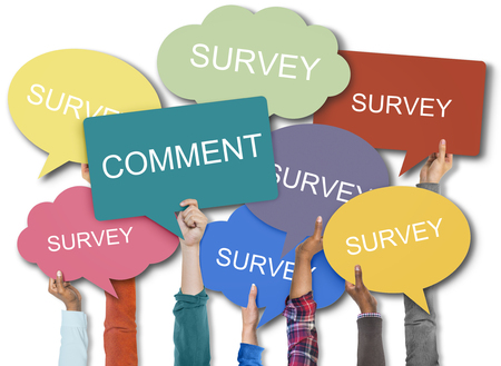 People showing placards with comment and survey concept Stock Photo