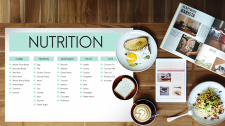 Food list with nutrition concept Stock Photo