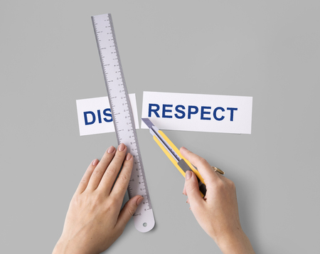 disregard: Disrespect Hands Cut Word Split Concept