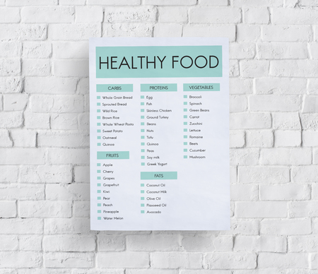 Poster on wall with healthy food concept Stock Photo