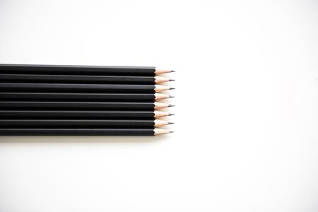 organised: Pencil Lined Up Row Neat Stock Photo