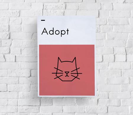Adopt Dieren Beste Vrienden Kat Icon Stockfoto