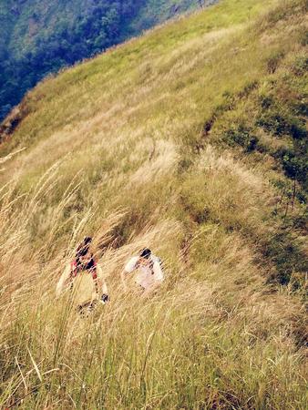 Couple trekking hiking on the mountain