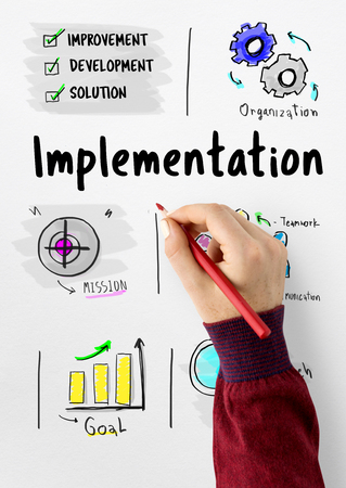 hand holding paper: Business Execution Implementation Process Workflow