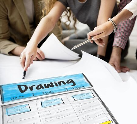 architect drawing: Product Design Drawing Website Graphic Stock Photo