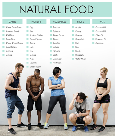 Young and fit people with natural food concept