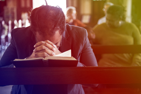 Adult Man Pray Bible Church Faith Religion Stock Photo - 76397373
