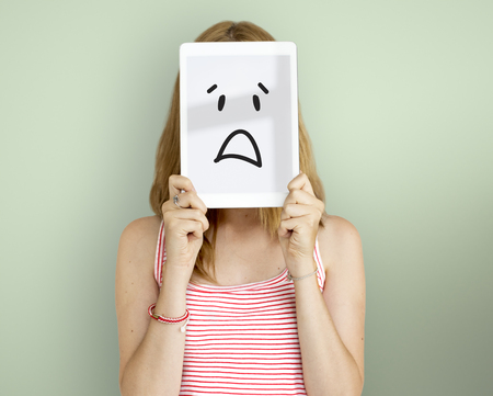 happy woman: Drawing Facial Expressions Emotions Feelings Stock Photo