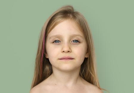 Meisje Kale Borst Topless Studio Portret Stockfoto