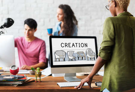 office furniture: Ideas Creation Design Process Icon