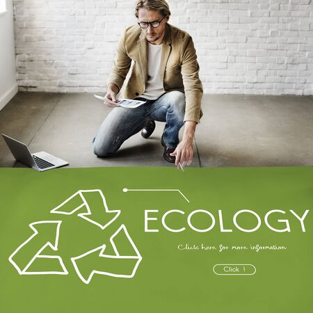 architect drawing: Ecology Recycle World Green Healthy Stock Photo