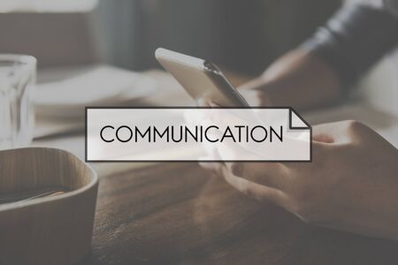 contact info: Browsing Communication Connection Technology Concept Stock Photo