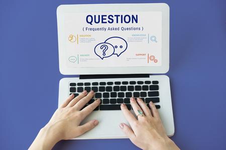 contact info: FAQs Customer Service Icon Concept Stock Photo