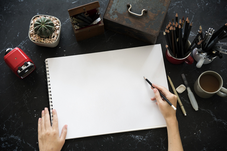 sketchpad: Artist Drawing Illustration Black Marble Table