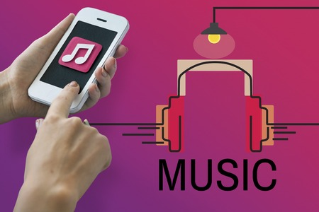 media gadget: Music Audio Multimedia Headphone Concept Stock Photo