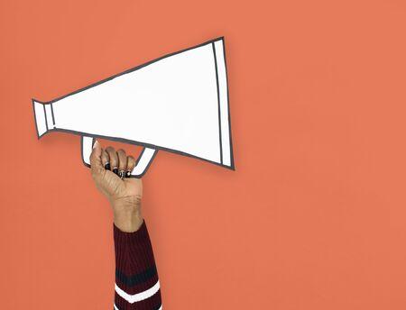 Hand Up Holding megaphone Illustration Stok Fotoğraf