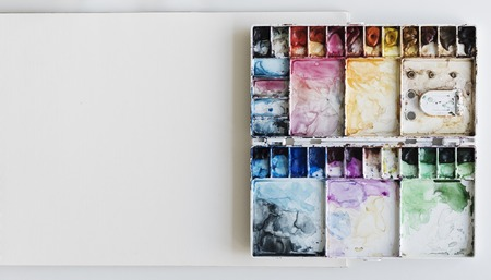 Painting Palette Sketchbook Paper White Table