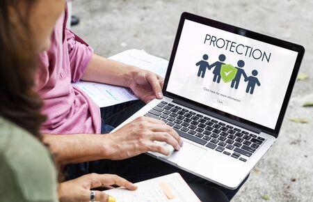 asian man laptop: Family Insurance Reimbursement Protection Concept