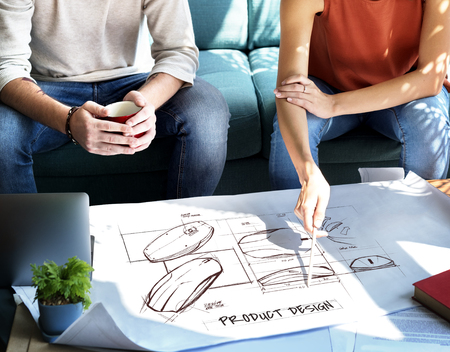 People having a discussion with product design concept Stockfoto - 113442669