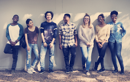 友達人グループのチームワークの多様性 写真素材
