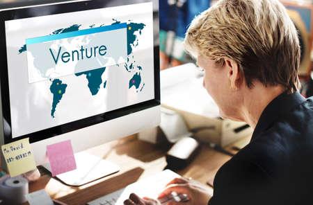 international internet: Venture Global Business Corporate Growth Marketing Stock Photo