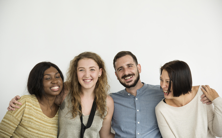 Diverse group of people connection studio shoot