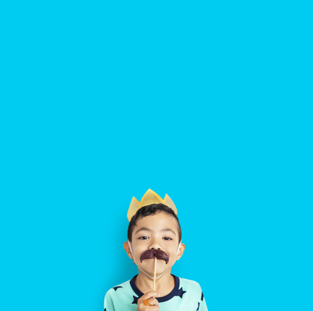 Little Boy With Crown Mustache Costume Studio Stock Photo