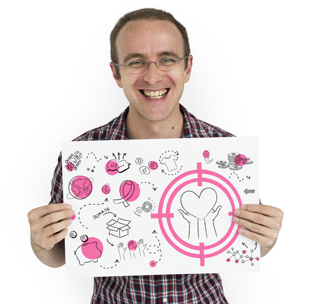 Cheerful man holding a placard with donate concept