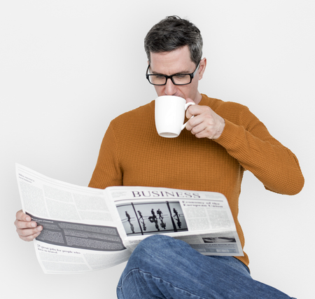 Man Reading Newspaper Information Coffee Drinking Stock Photo