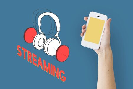 portable audio: Music entertainment headphones icon graphic