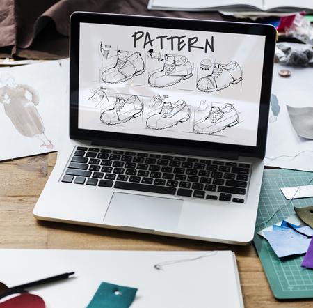 靴生産手順スケッチ図面 写真素材