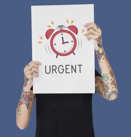 Tattoo woman holding banner of alarm clock icon notification illustration Stock Photo