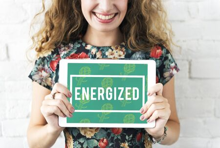 Boost Energized Pumped Ready Graphics Banque d'images