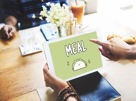 食事食品栄養サンドイッチ食べてカロリー コンセプト