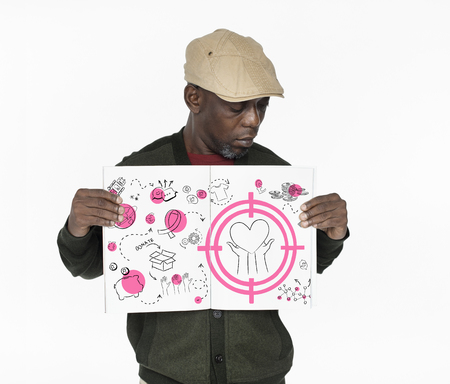 African man showing a placard with donate concept