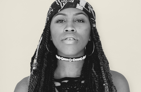 African Descent with Dreadlocks Staring Stock Photo