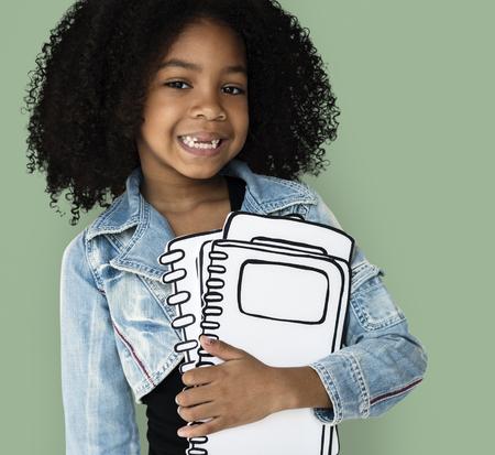 Little Girl Paper Craft Book Education Studio Portrait